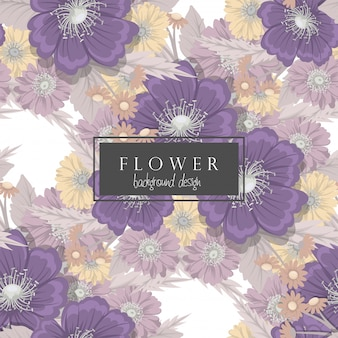 Background floral vector  purple flowers seamless pattern