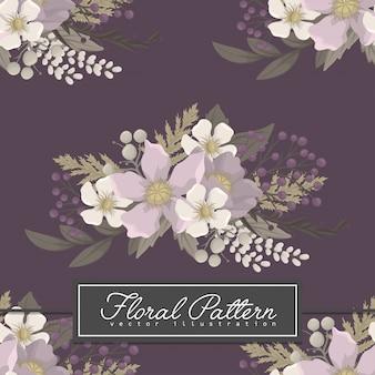 背景の花紫の花のシームレスパターン