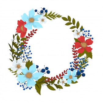 Background flower - red, light blue, white flowers wreath