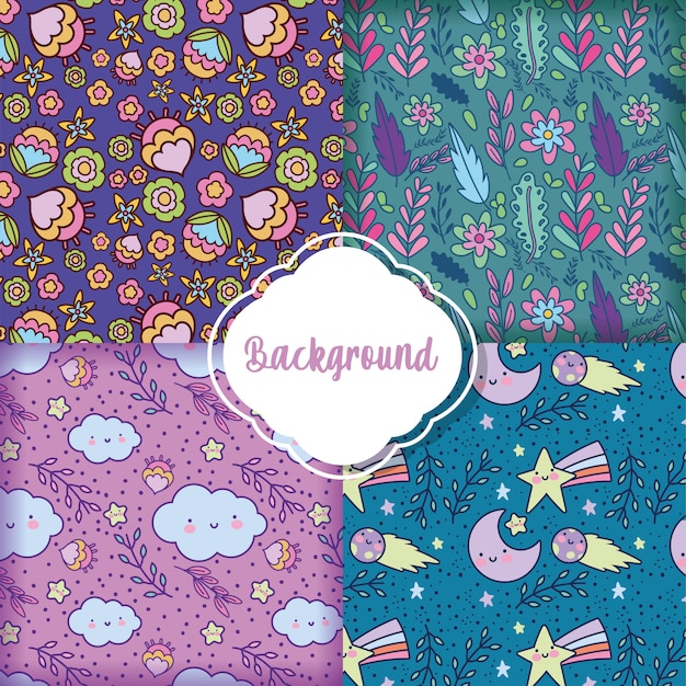 Background flowers decoration pattern set