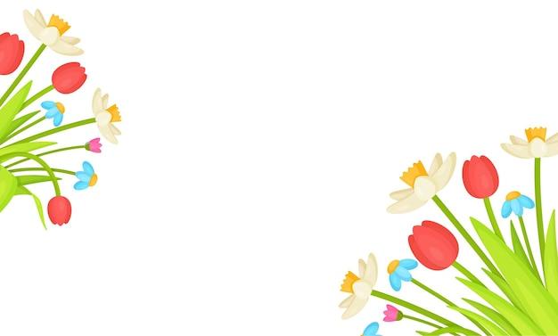 Фон цветы. иллюстрация цветочного баннера. тюльпаны на розовой иллюстрации фонографа.