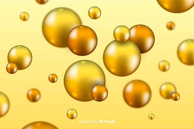 Background flowing realistic glossy spheres