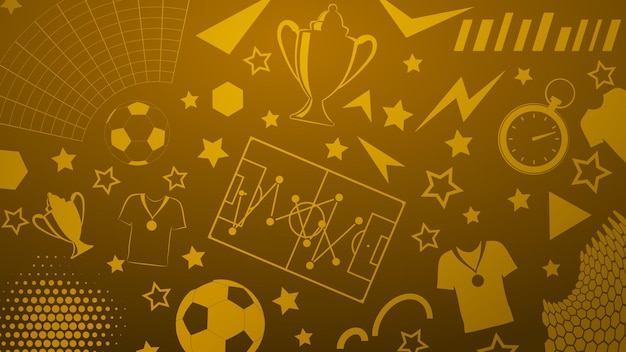 Background of football or soccer symbols in yellow colors