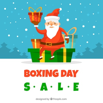 Background for a boxing day with santa claus