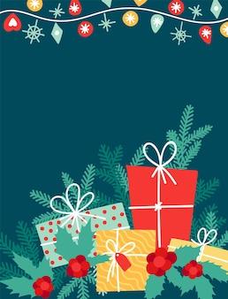 축 하 인사말 카드에 대 한 배경 기쁜 성 탄과 새 해 복 많이 받으세요