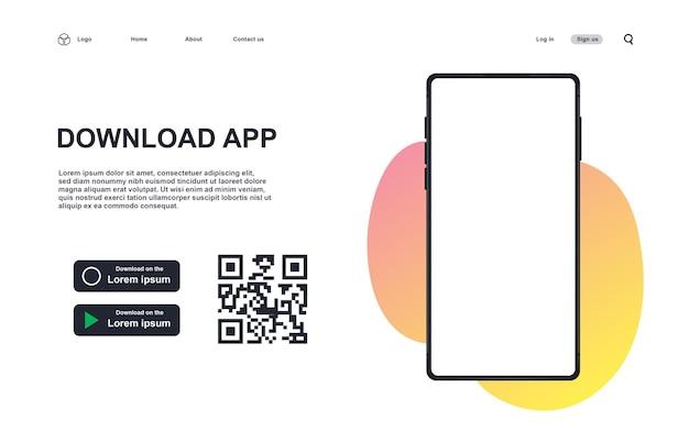 다운로드 앱 페이지의 배경입니다. 스캔 qr 코드 템플릿이 있는 버튼입니다. 3d 현실적인 전화.