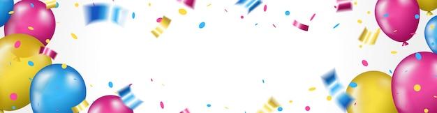 カラフルな風船とコピースペースでお誕生日おめでとうグリーティングカードの背景