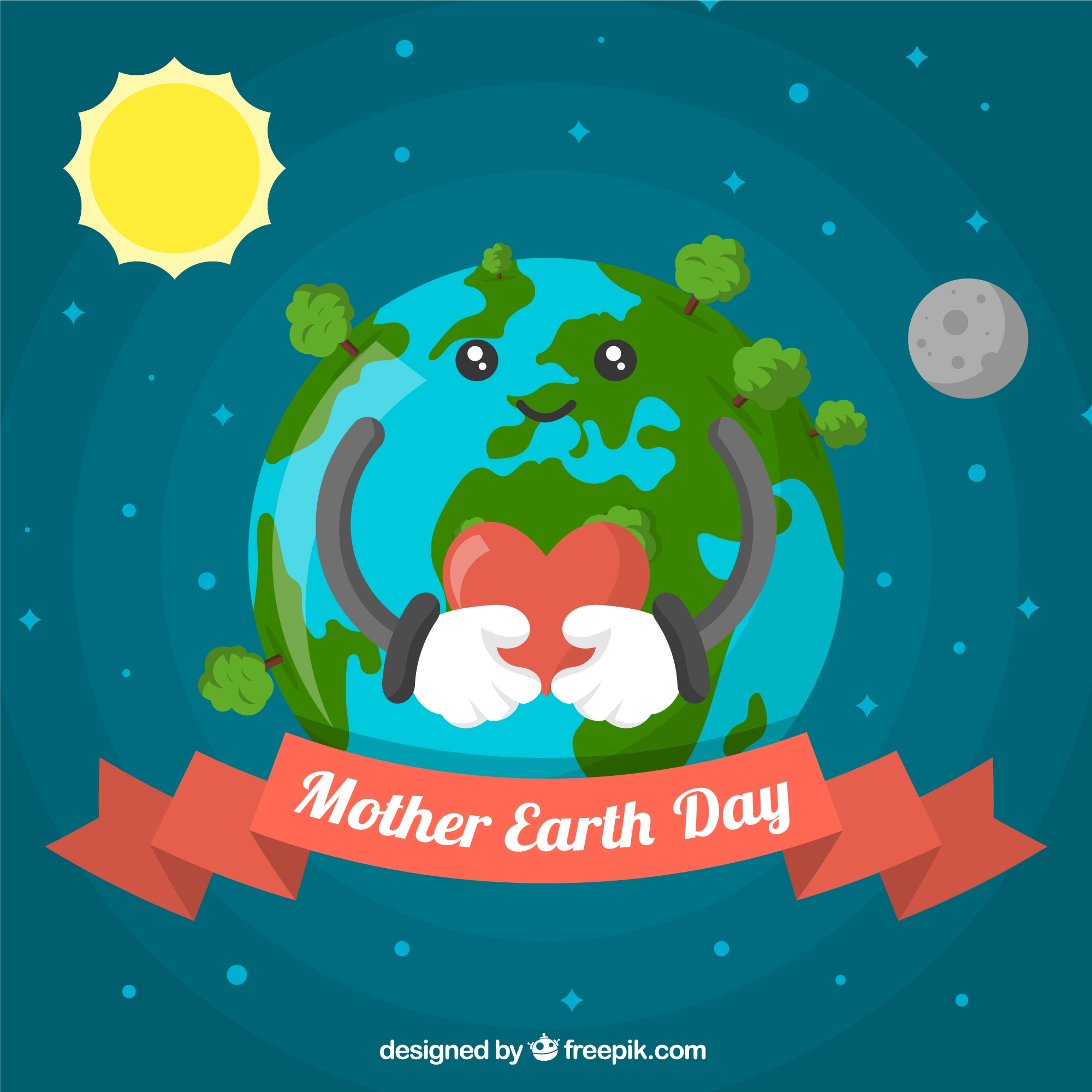 Background for mother earth day in flat design
