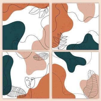 Фон для публикации в социальных сетях с листьями и абстрактными формами