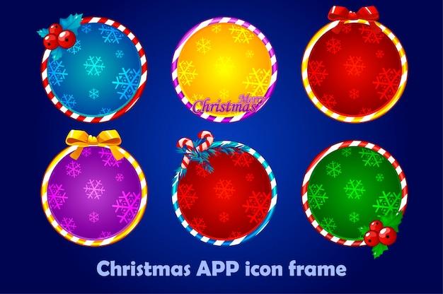 Фон для значков приложений, рождественский набор. новогодние значки приложений обводят кадры.