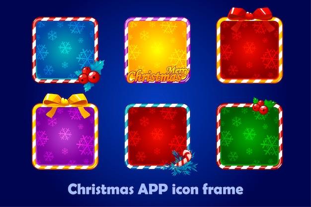 Фон для значков приложений, рождественский набор. новогодние иконки приложений квадратные рамки
