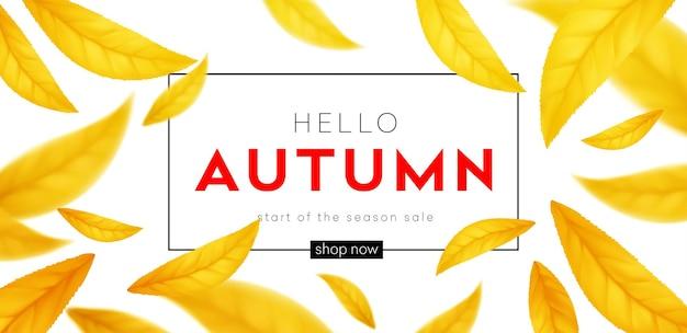 Фон для осеннего сезона скидок. осенняя распродажа фон с летающими желтыми и оранжевыми осенними листьями. векторная иллюстрация