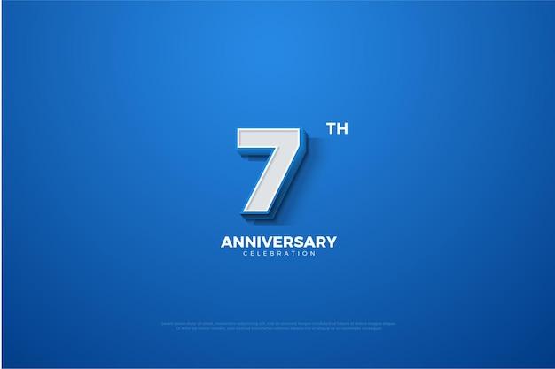 간단한 숫자와 색상으로 7 주년 기념 배경