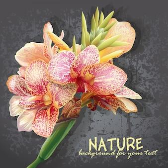 분홍색 얼룩이있는 노란색 꽃과 텍스트에 대 한 배경. 난초와 같은 꽃.