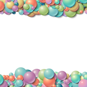 Background frame with scattered messy glowing rubber balls