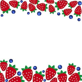 フラットスタイルの背景の新鮮なイチゴとブルーベリー。ベジタリアン料理とレストランメニューのデザインテンプレート