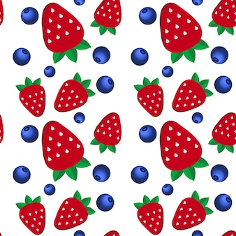 Background  fresh strawberries and blueberriesof in flat style. design template for vegetarian food and restaurant menu