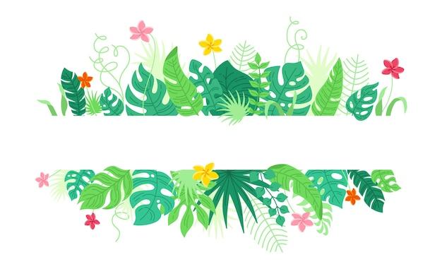 熱帯の葉と花、漫画のスタイルの背景。トレンディなハワイアンフレーム。モンステラ、バナナの葉と熱帯雨林の葉の境界線