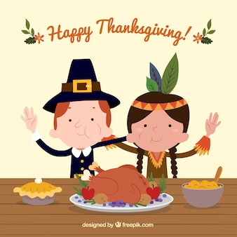 Background of funny characters celebrating thanksgiving