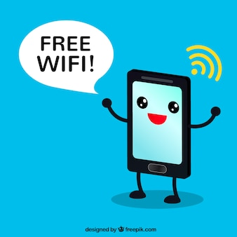 Background of funny mobile with wifi