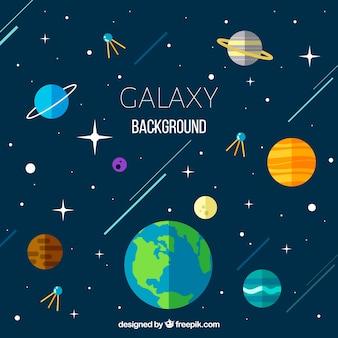 Sfondo delle galassie con il mondo e altri pianeti