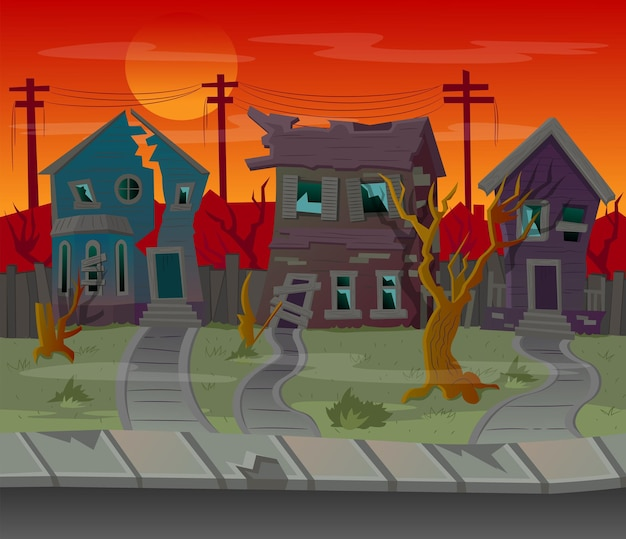 Background for games. cartoon street with abandoned houses. vector illustration