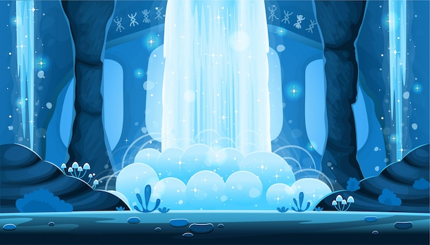 Background for games and mobile applications. cartoon night cave with a big waterfall seamless landscape,  background with separated layers.