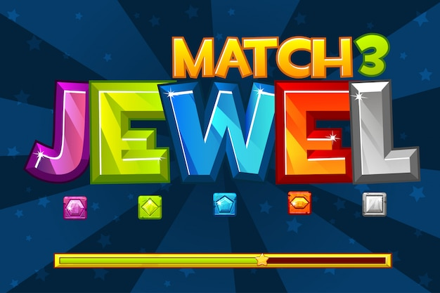 Background gems match3 games. set multicolored precious icons and loading game, gui graphic assets