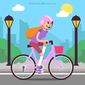 Background of girl on bike with helmet in the city