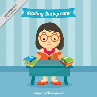 Background of girl reading in flat design