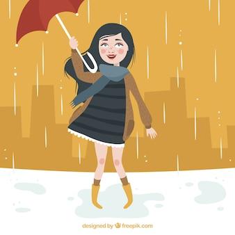 빗 속에서 우산 배경 소녀
