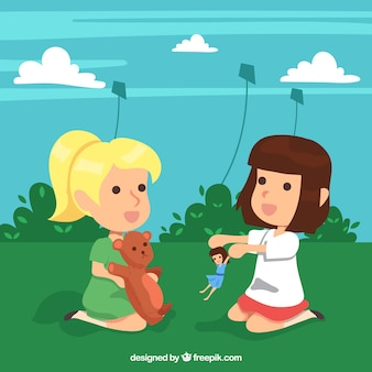 Background of girls playing with their toys outdoors