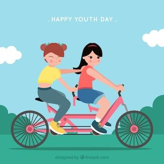 Sfondo delle ragazze in bicicletta