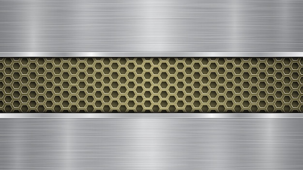 Background of golden perforated metallic surface with holes and two silver horizontal polished plates with a metal texture, glares and shiny edges