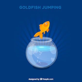 Background of goldfish jumping out of fishbowl