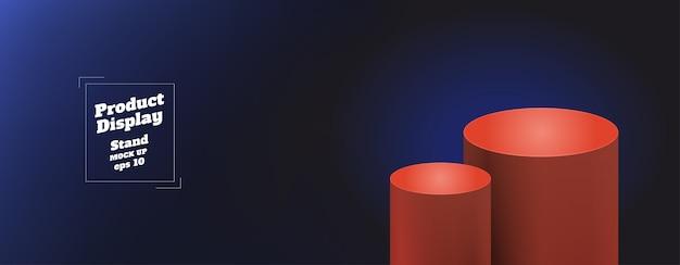 오렌지 레드 라운드 키오스크 스탠드와 그라디언트 라이트 블루에서 네이비 컬러로 배경