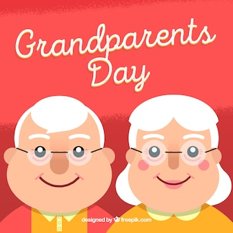 Background of grandparents couple with glasses and happy