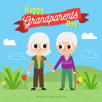 Background of grandparents holding hands in the field