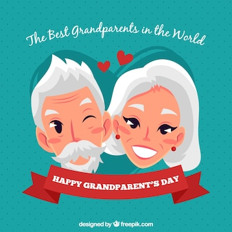 Background of grandparents in love with message