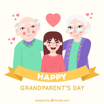 Background of grandparents with their granddaughter