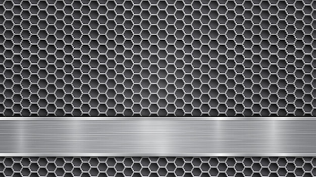 Background in gray colors, consisting of metallic perforated surface with holes and a polished plate