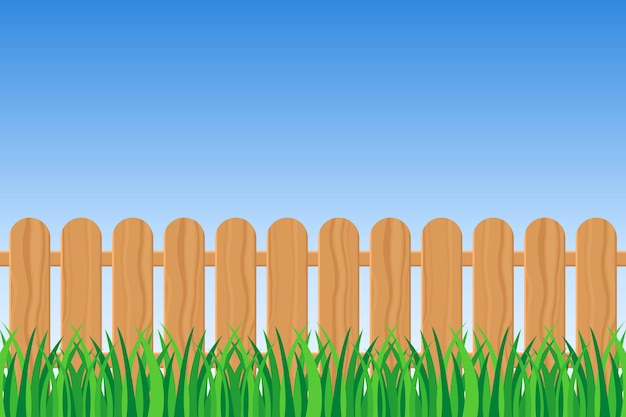 Background of green grass and fence illustration