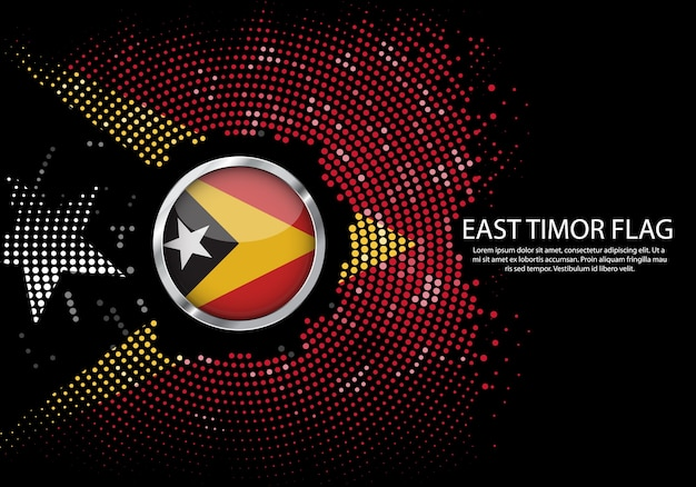 Background halftone gradient template of east timor flag.