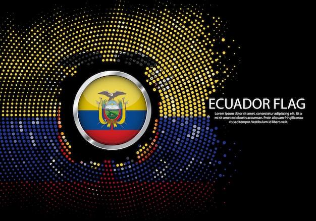 Background halftone gradient template of ecuador flag.