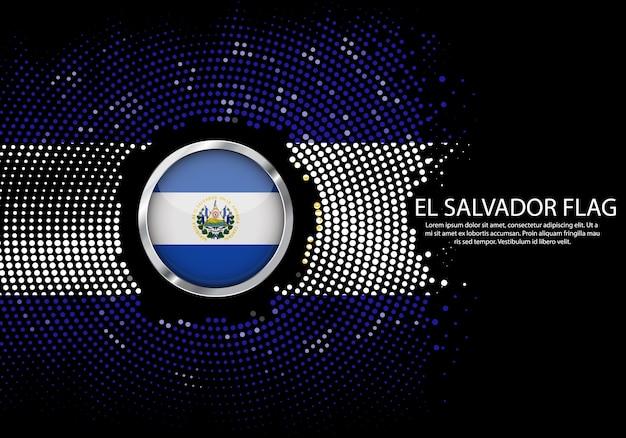 Background halftone gradient template of el salvador flag.