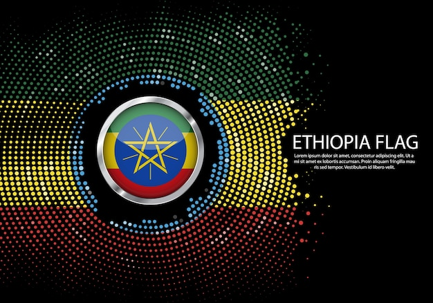 Background halftone gradient template of ethiopia flag.