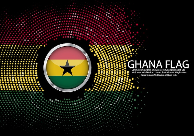 Background halftone gradient template of ghana flag.