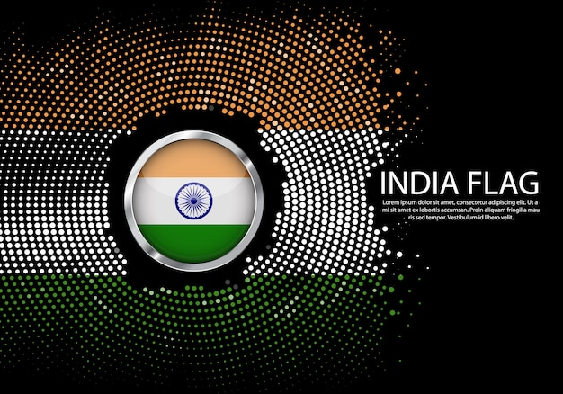 Background halftone gradient template of india flag.