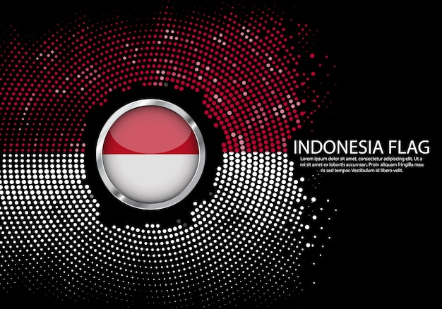 Background halftone gradient template of indonesia flag.