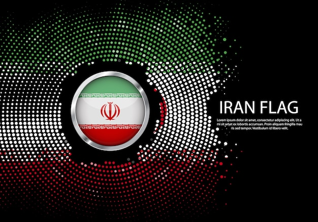 Background halftone gradient template of iran flag.